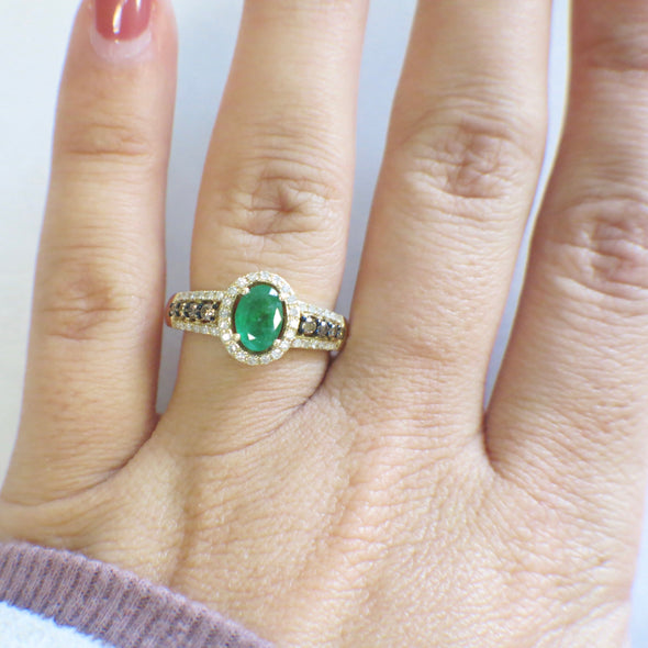 14K Yellow Gold EFFY Oval Emerald with Champagne and White Diamond Accented Ring