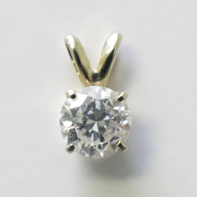 14K Gold Diamond Solitaire Pendant