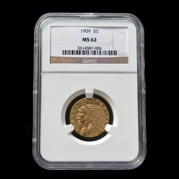 1909 5 Dollar Indian Head Gold Coin NGC MS62