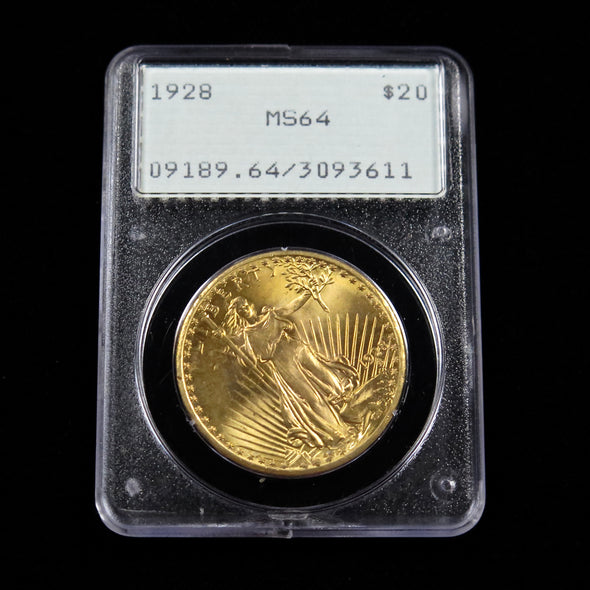 1928 20 Dollar Saint Gaudens Double Eagle Gold Coin PCGS MS64