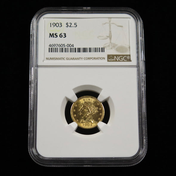 1903 Quarter Eagle 2.50 Liberty Head Dollar Gold Coin NGC MS63