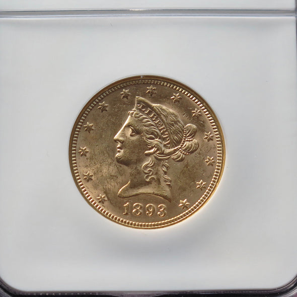 1893 10 Dollar Liberty Head Gold Coin NGC MS62
