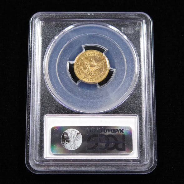 1857 Quarter Eagle 2.50 Liberty Head Dollar Gold Coin PCGS AU58