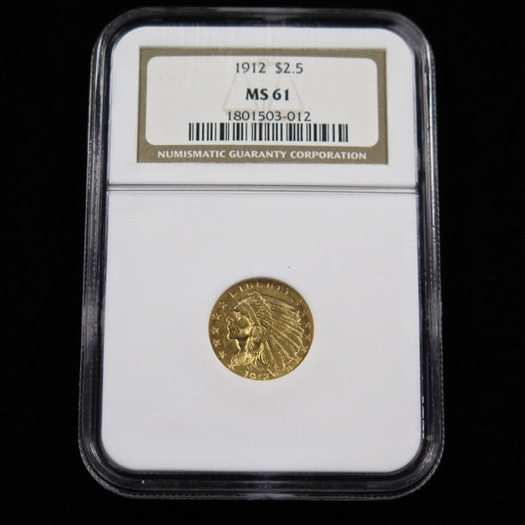 1912 Quarter Eagle 2.50 Dollar Indian Head Gold Coin NGC MS61
