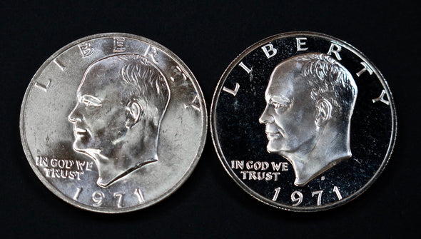 1971 S Eisenhower Silver Dollar 2 Coin Mint and Proof Combo