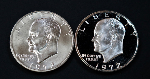 1972 S Eisenhower Silver Dollar 2 Coin Mint and Proof Combo