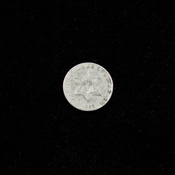 1853 Three Cent Piece  Silver