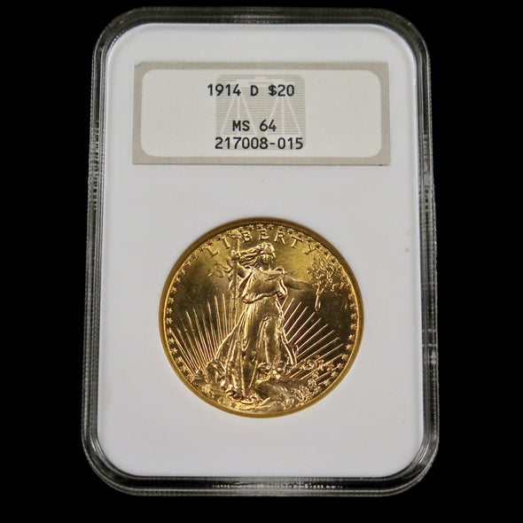 1914 D 20 Dollar Saint Gaudens Double Eagle Gold Coin NGC MS64