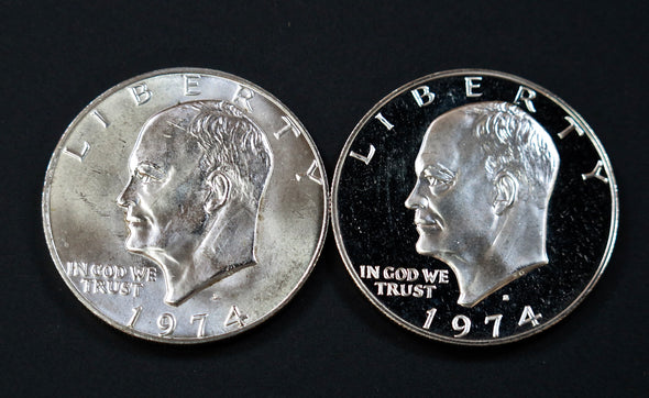 1974 S Eisenhower Silver Dollar 2 Coin Mint and Proof Combo