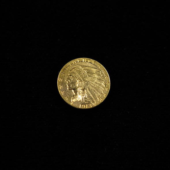 1913 Quarter Eagle 2.50 Dollar Indian Head Gold Coin