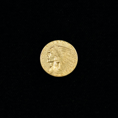 1912 Quarter Eagle 2.50 Dollar Indian Head Gold Coin