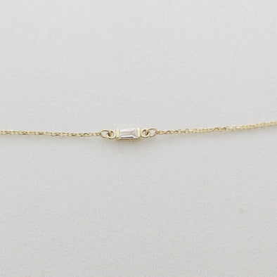 14K Gold Diamond Baguette Bar Half Bezel Bracelet
