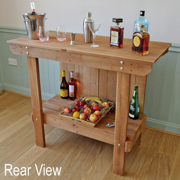 Rear view of our workbench bar from Greenfields Wood Store