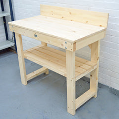 flat packed pine workbench