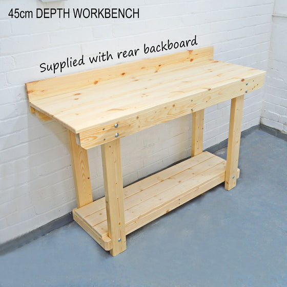 narrow wooden workbench