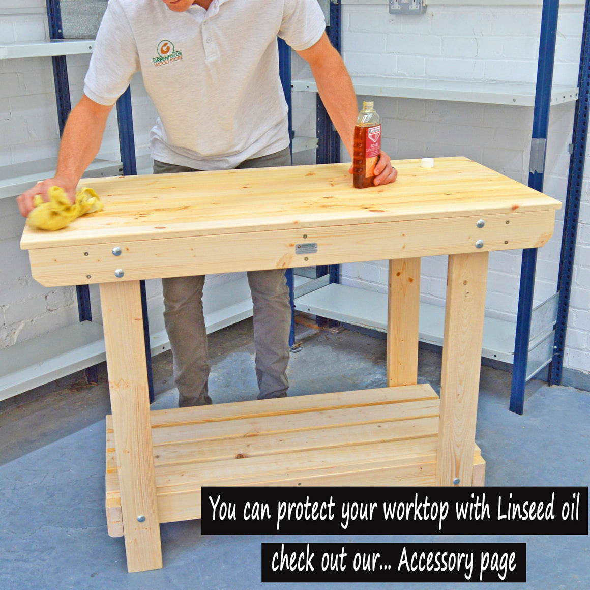 strong wooden workbench