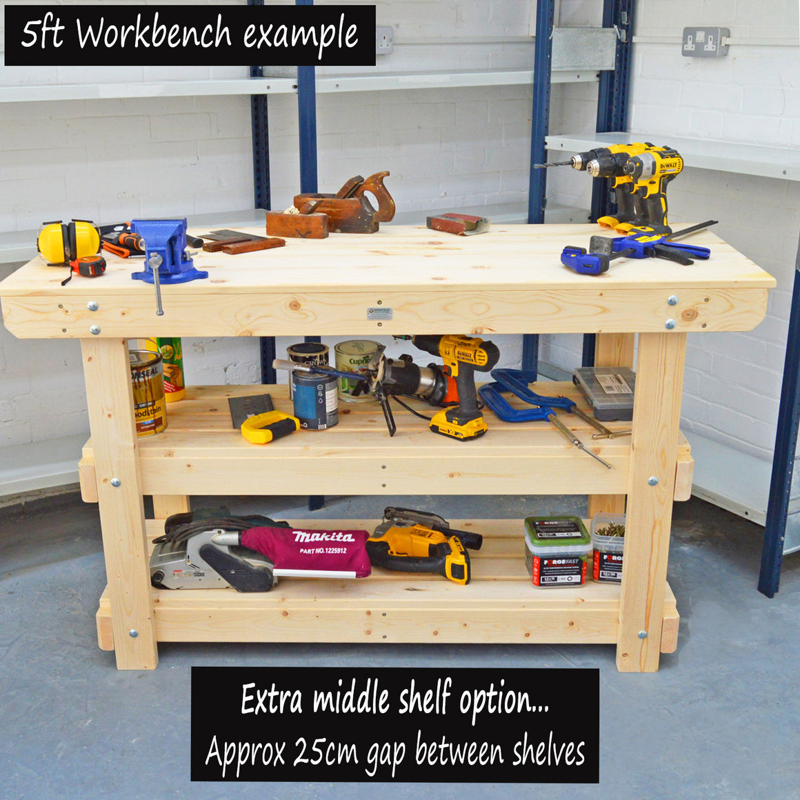 wooden workbench with 2 shelves