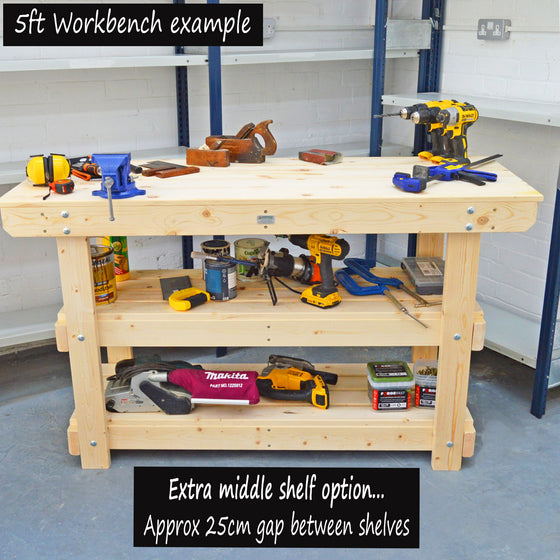 wooden workbench with extra shelf
