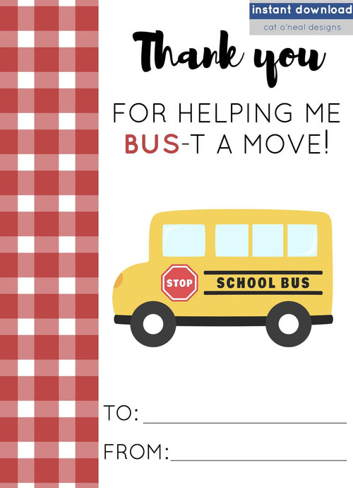 image regarding Bus Driver Thank You Card Printable identified as PRINTABLES BUS Motorists cat oneal layouts