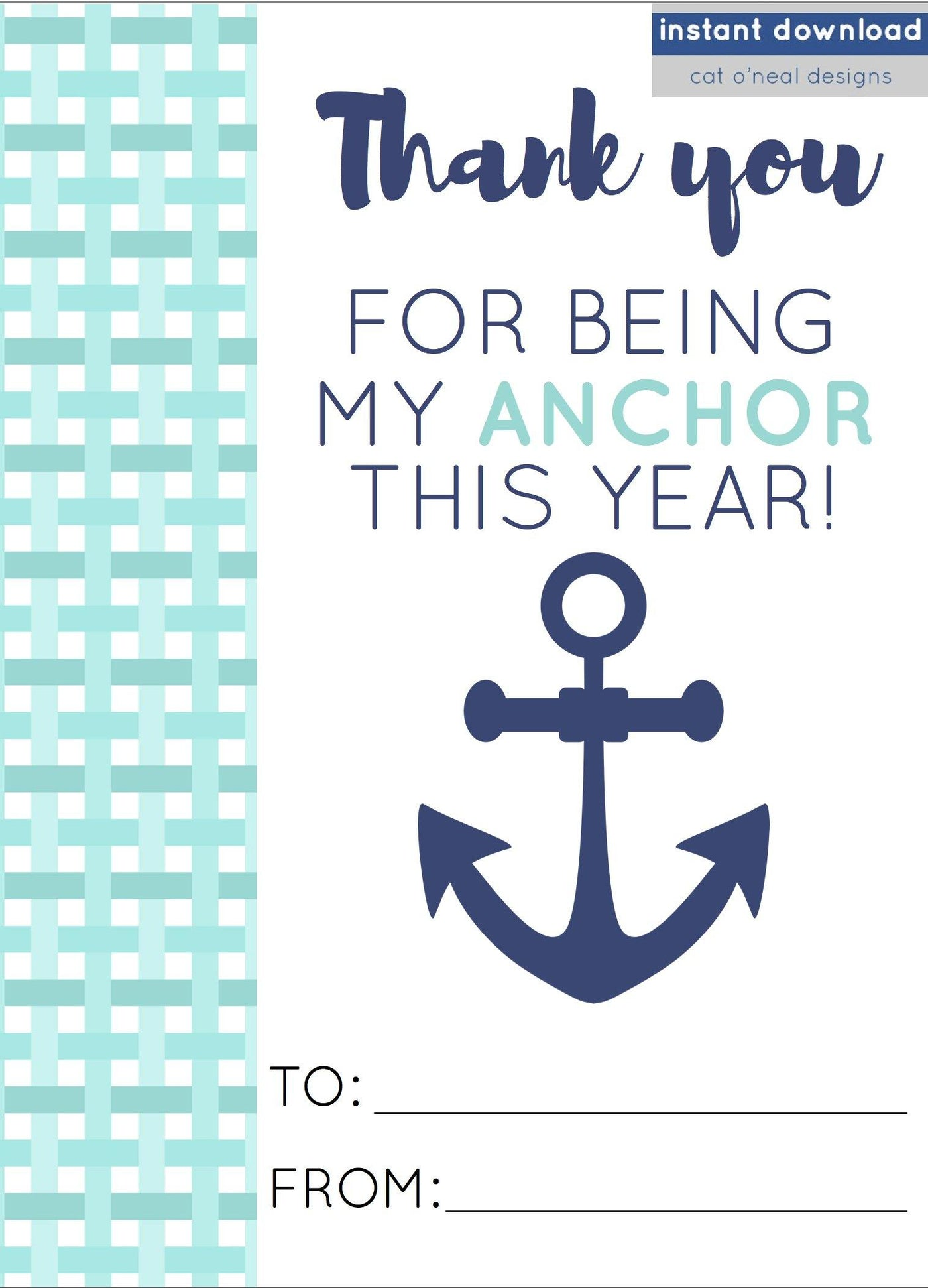 photograph relating to Anchor Printable called PRINTABLE THANK Yourself FOR Becoming MY ANCHOR THIS Yr
