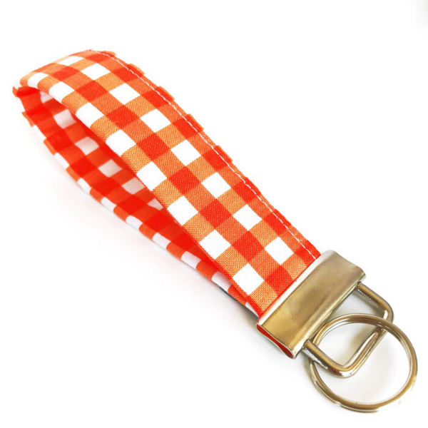 THE FOBSKEY® || ORANGE AND WHITE CHECKERBOARD