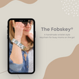 THE FOBSKEY® || NATURAL WITH BLUSH + PALE BLUE STRIPE