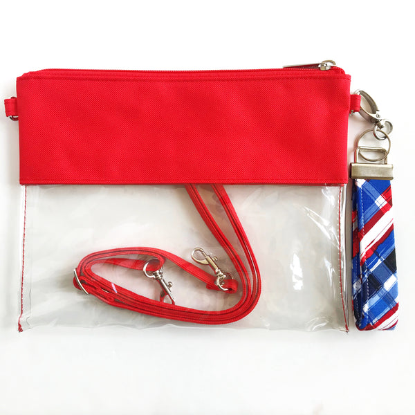 WRISTLET SET || RED CLEAR BAG, THE CLIP +  RED, BLUE AND WHITE PLAID FOBSKEY