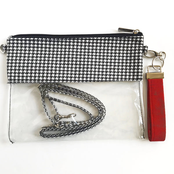 WRISTLET SET|| HOUNDSTOOTH CLEAR BAG, THE CLIP + GARNET FOBSKEY