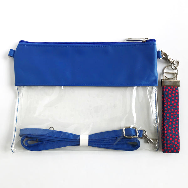WRISTLET SET || BLUE CLEAR BAG, THE CLIP +  NAVY BLUE AND RED FOBSKEY