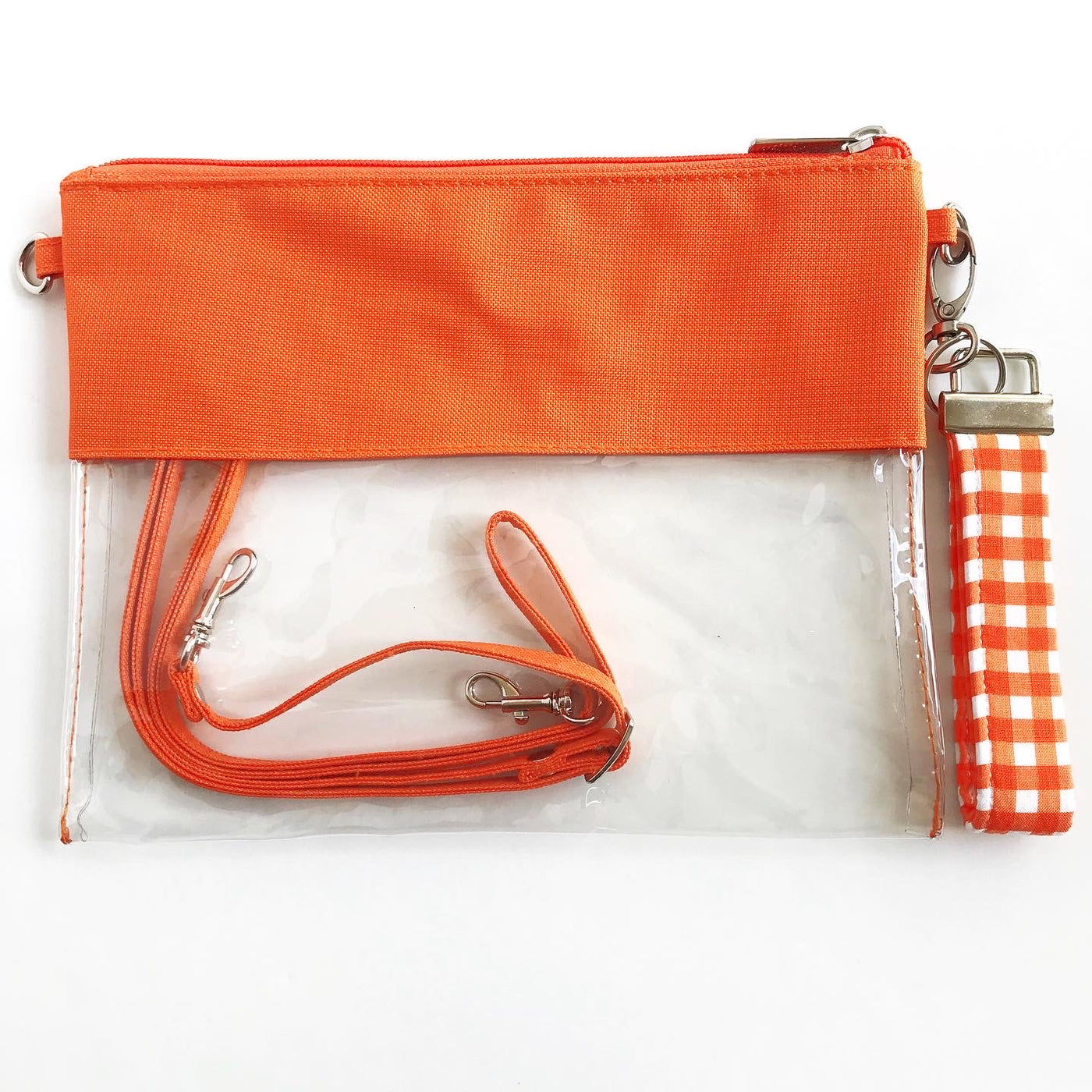 WRISTLET SET|| ORANGE CLEAR BAG, THE CLIP + ORANGE AND WHITE CHECKERBOARD FOBSKEY