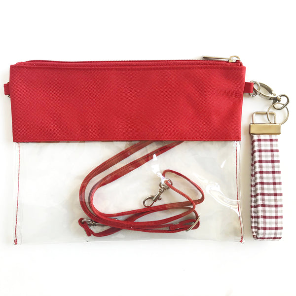 WRISTLET SET || GARNET CLEAR BAG, THE CLIP +  MAROON, GRAY AND WHITE FOBSKEY