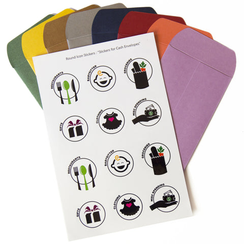 Cash Envelopes - Set of 8 - with Sticker Pack
