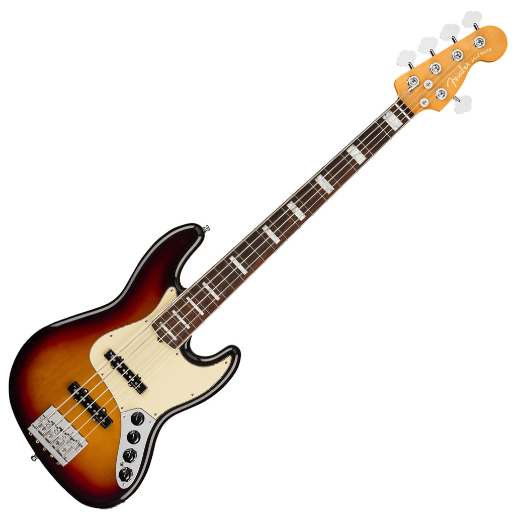 Fender American Ultra Jazz Bass V Bass Guitar Rosewood in Ultraburst with Case - 199030712