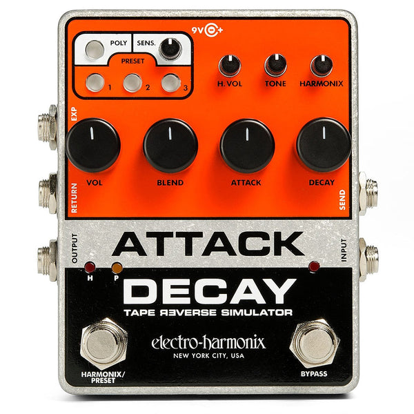 ElectroHarmonix ATTACKDECAY Tape Reverse Simulator Delay Effects Pedal