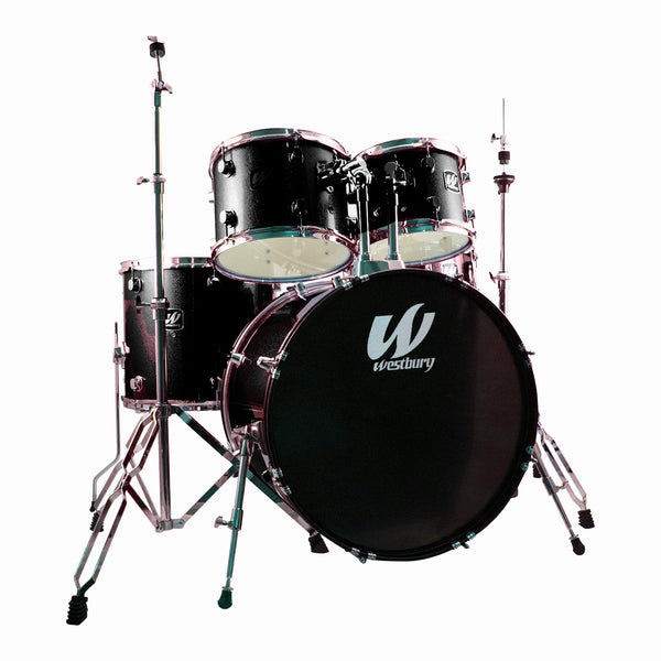 Westbury W575TBS 5 Piece Drum Kit in Black Sparkle with Hardware and Drum Stool+WCP1416 Cymbals