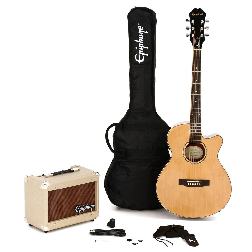 Epiphone PR4E Player Pack Cutaway Acoustic Electric in Natural with Amp w/Bag - PR4ENACHPP