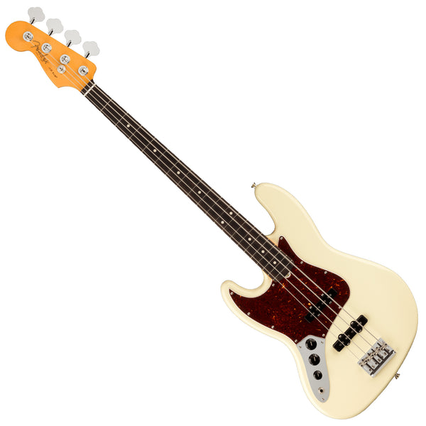 Fender Left Hand American Professional II Jazz Bass Guitar Rosewood Olympic White w/Case - 0193980705