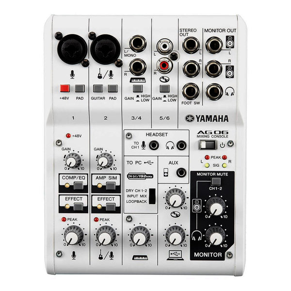 Yamaha 6-channel Non Powered Mixer with USB Audio Interface - AG06