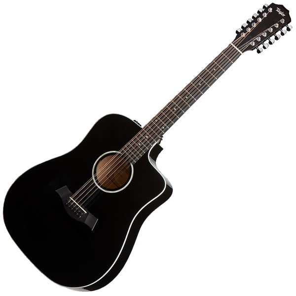 Taylor 250CEBLKDLX DN 12 String Cutaway Acoustic Electric in Black w/Case
