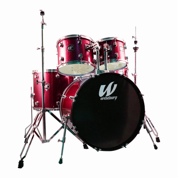 Westbury W575TRS 5 Piece Drum Kit in Ruby Sparkle with Hardware and Drum Stool+WCP1416 Cymbals