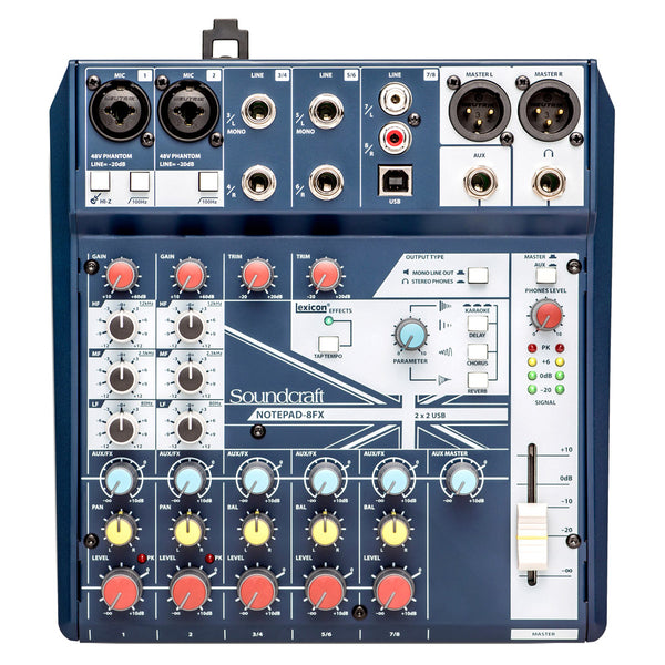 Soundcraft NOTEPAD8FX 8 Channel Desktop Non Powered Mixer with USB and Effects