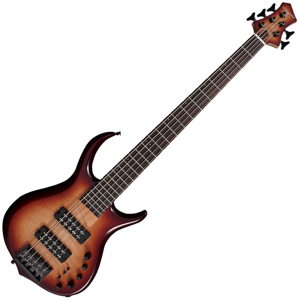 Sire M7 5 String Bass Guitar Alder Body Ebony Fingerboard in Brown Sunburst - M7ALDER5BRS