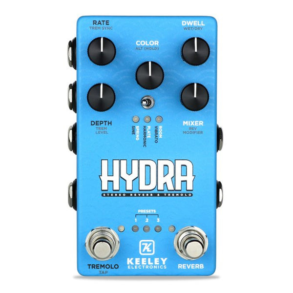 Keeley Hydra Stereo Reverb and Tremolo Effects Pedal - HYDRA