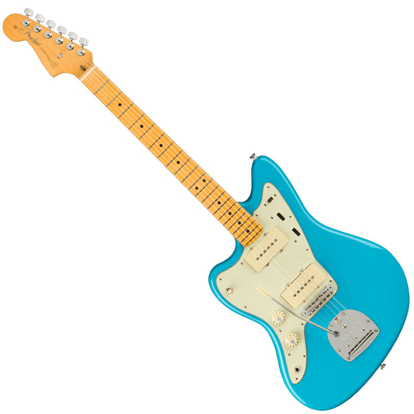 Fender Left Hand American Professional II Jazzmaster Maple Miami Blue Electric Guitar w/Case - 0113982719