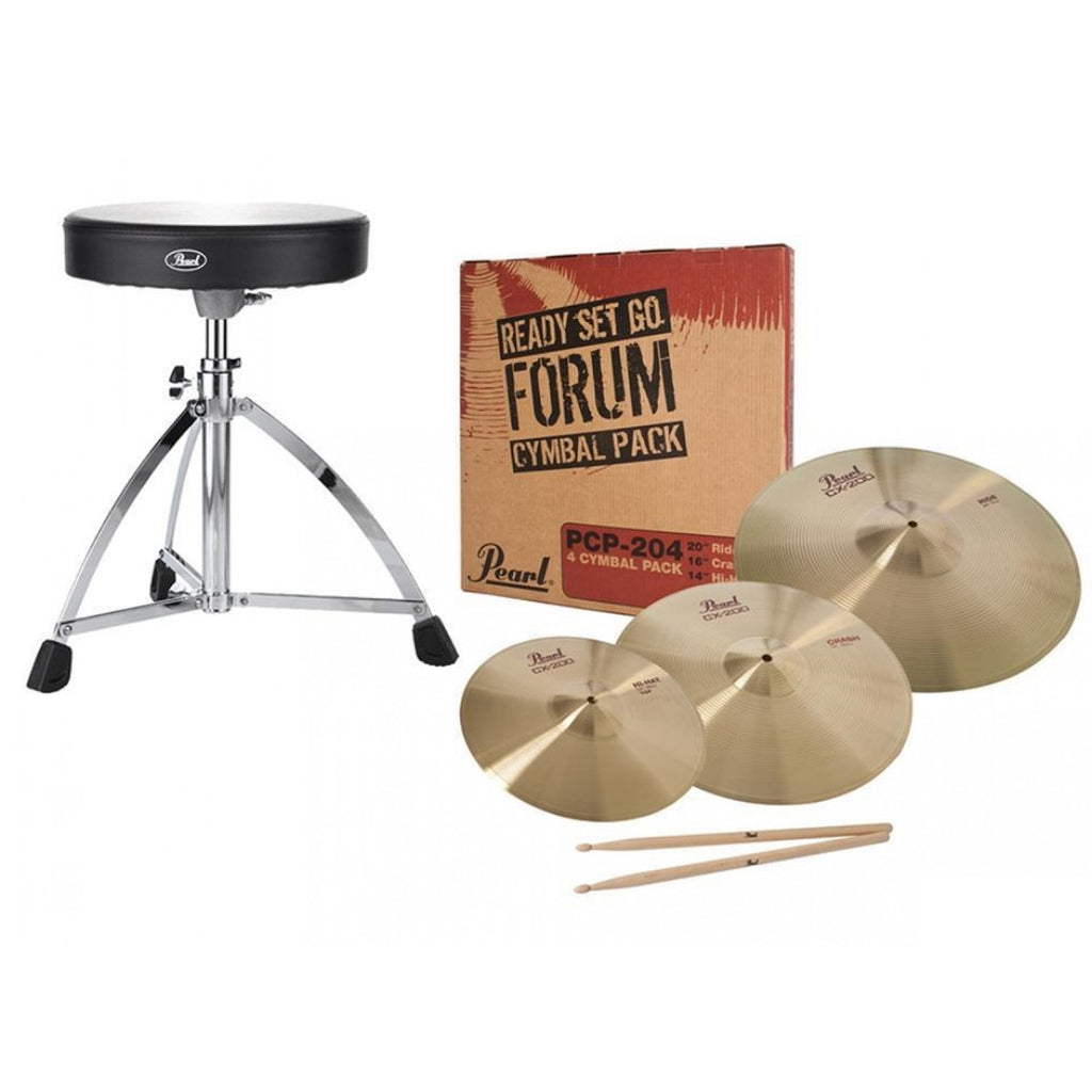 Pearl Ready-Set-Go Package (Crash, Ride and Hi Hat Cymbals, D730S Throne, 5A Stick) - RSG1