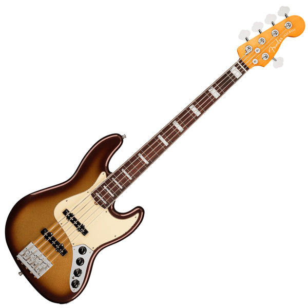 Fender American Ultra Jazz Bass V Bass Guitar Rosewood in Mocha Burst with Case - 199030732