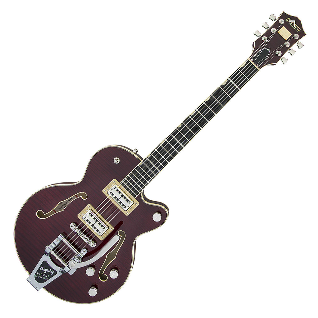 Gretsch G6659TFM Players Edition Flame Maple Broadkaster Jr Hollow Body Bigsby in Dark Cherry Stain Electric Guitar with Cas - 2401700877