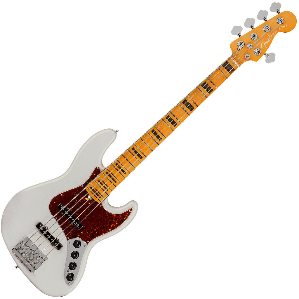 Fender American Ultra Jazz Bass V Bass Guitar Maple in Arctic Pearl with Case - 199032781
