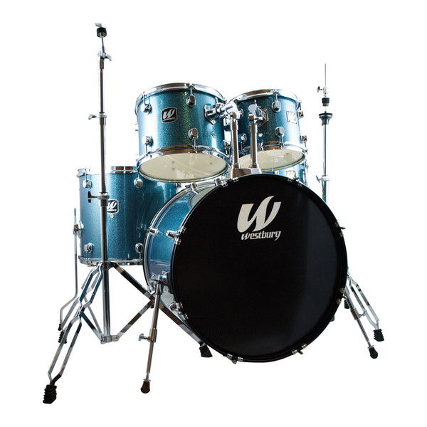 Westbury W575TAS 5 Piece Drum Kit in Aqua Sparkle with Hardware and Drum Stool+WCP1416 Cymbals