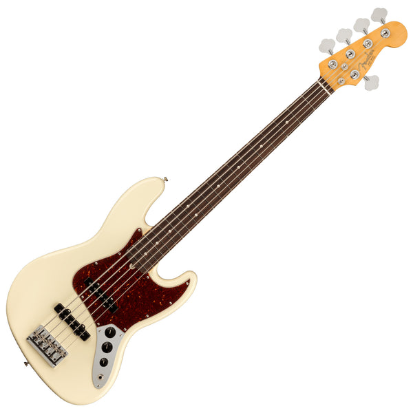 Fender American Professional II Jazz V 5 String Bass Guitar Rosewood Olympic White w/Hardshell Case - 0193990705